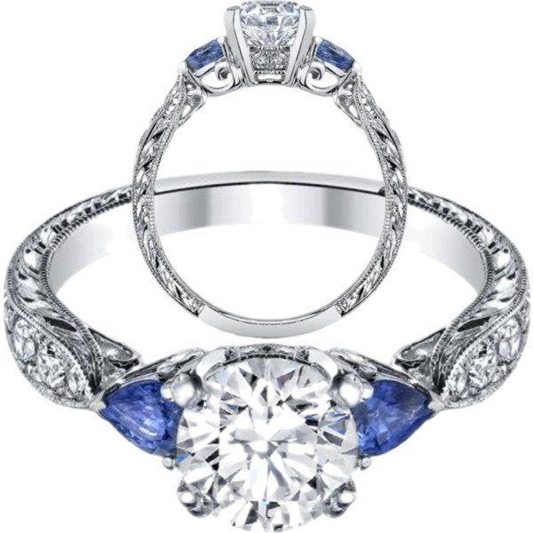 Diamond Engagement Ring Blue Sapphire Pear Shape Side