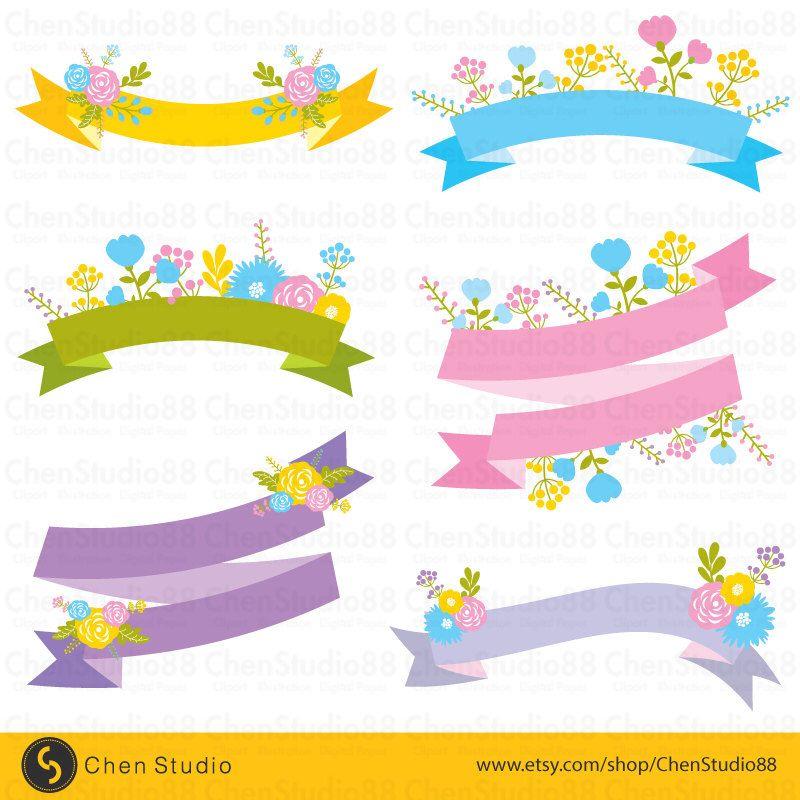 Cute floral banner vector - Digital Clipart - Instant Download - EPS - fresh invitation banner vector