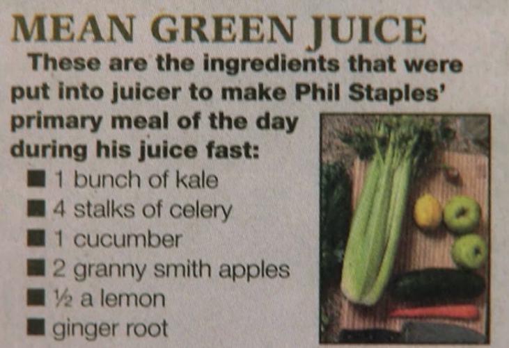 Mean Green Juicing Recipe | Phil Staples' primary meal of the day during his juice fast. Phil's story was featured in the documentary Fat, Sick and Nearly Dead and can be viewed on Netflix. If you haven't seen this documentary film I highly recommend you check it out. It's inspiring. #JuiceRecipesForEnergy #juicefast