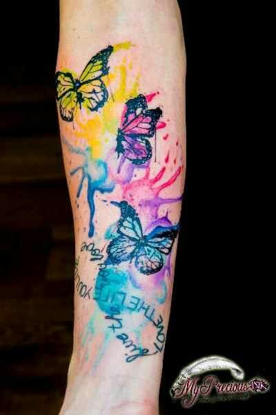 Love The Paint Splatter Water Color Watercolor Butterfly Tattoo