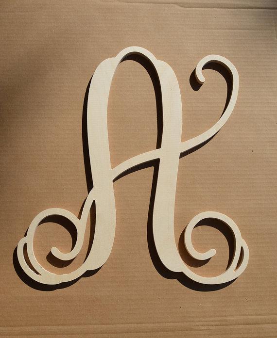 Wooden Initials Wooden Monogram Letters Wall Hanging Vine