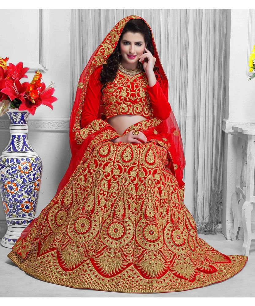 #Online #Shopping #India Store sell Beautiful Designer Net #Red #Lehenga #choli with #golden embroidered work in lehenga, Red Net Dupatta with #Embroidered work in border and Banarasi Silk Blouse Piece in Red color.