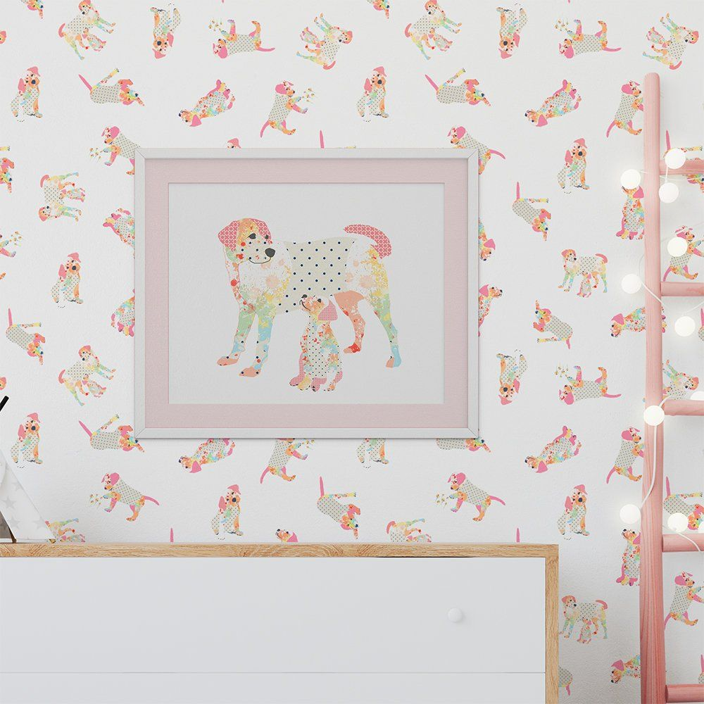 Dog Wallpaper Peel And Stick Removable Wall Paper Baby Girl Dog Lover Nursery Wallpaper Shabby Chic Pink Wallpap Art Wall Kids Nursery Wallpaper Girl And Dog