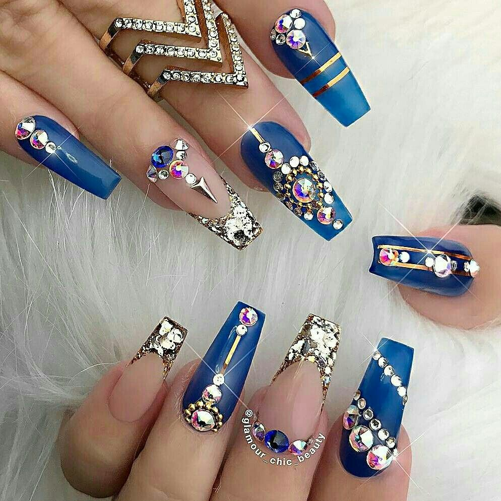 Symbol Of The Brand Hand Painted False Nails Blue Nail Art Shimmering Diamonds Flowers Coffin Artificial Nail Tips Nail Care, Manicure & Pedicure
