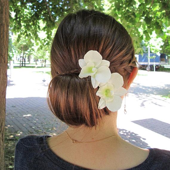 Dendrobium Orchid Hair Pin White Orchid Hairpin Wedding Hair Flower Accessories Bridal Hair Flower Decoration Hawaiian Hair Clip Orchid Hair Pins Flower Hair Accessories Wedding Bridal Hair Flowers