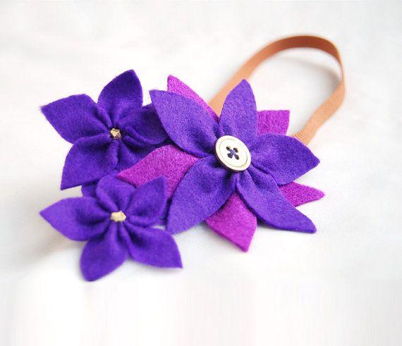 Purole flower headband - felt flower headband for women and girls, violet flowers