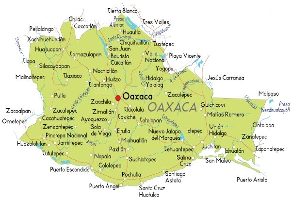 This Is A Map Of Oaxaca Oaxaca Is Province Located In Southern Mexico Living In Oaxaca Would Be Very Different From Maine Because It Is Clo Oaxaca Map Mexico