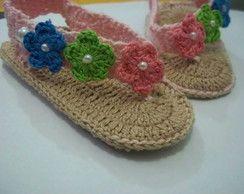 Sandalia baby com flor