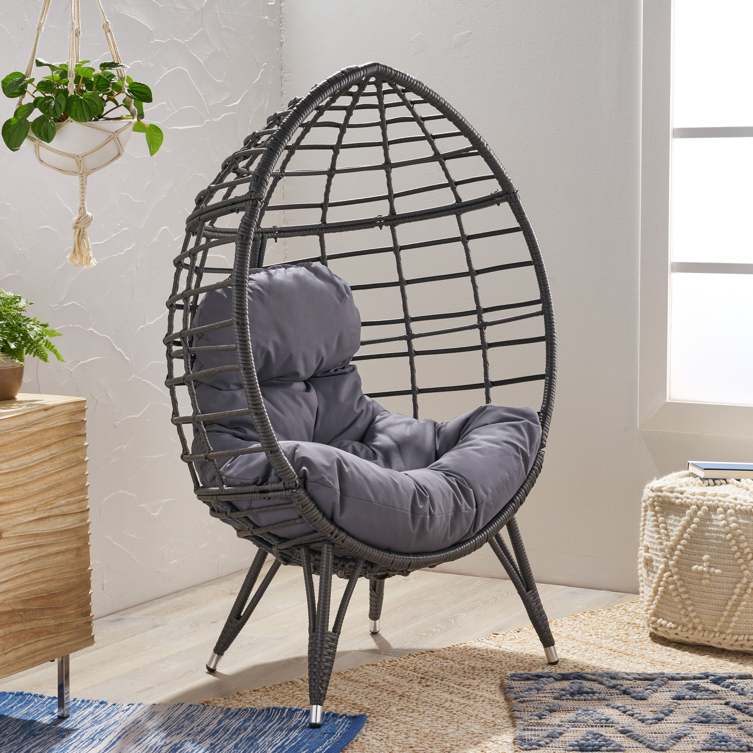 Noble House Angelise Wicker Teardrop Chair with Cushion