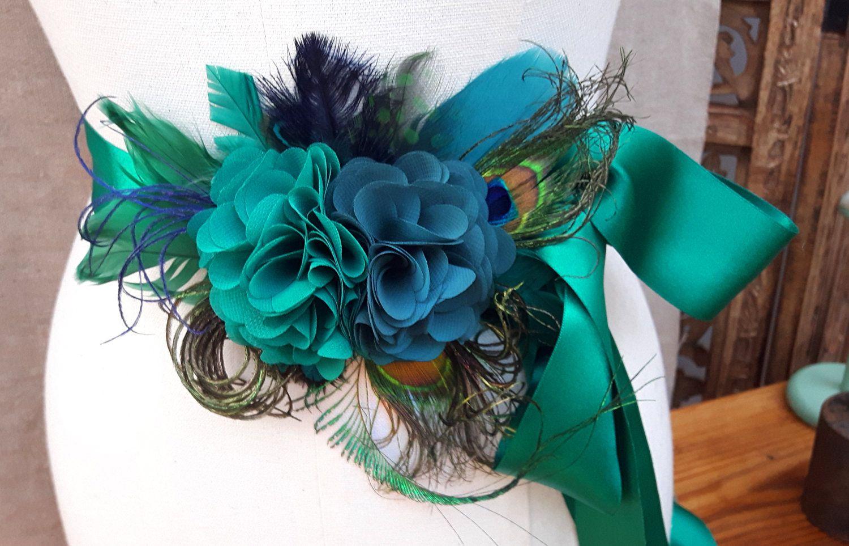 Headpiece Brautgurtel Talienband Brautkleid Hochzeit Turkis Grun Petrol Blau Pfau Pfauenfedern Vintage Haarschmuck Fascinator Kopfschmuck Bridal Sash Wedding Sash Bridal Belt