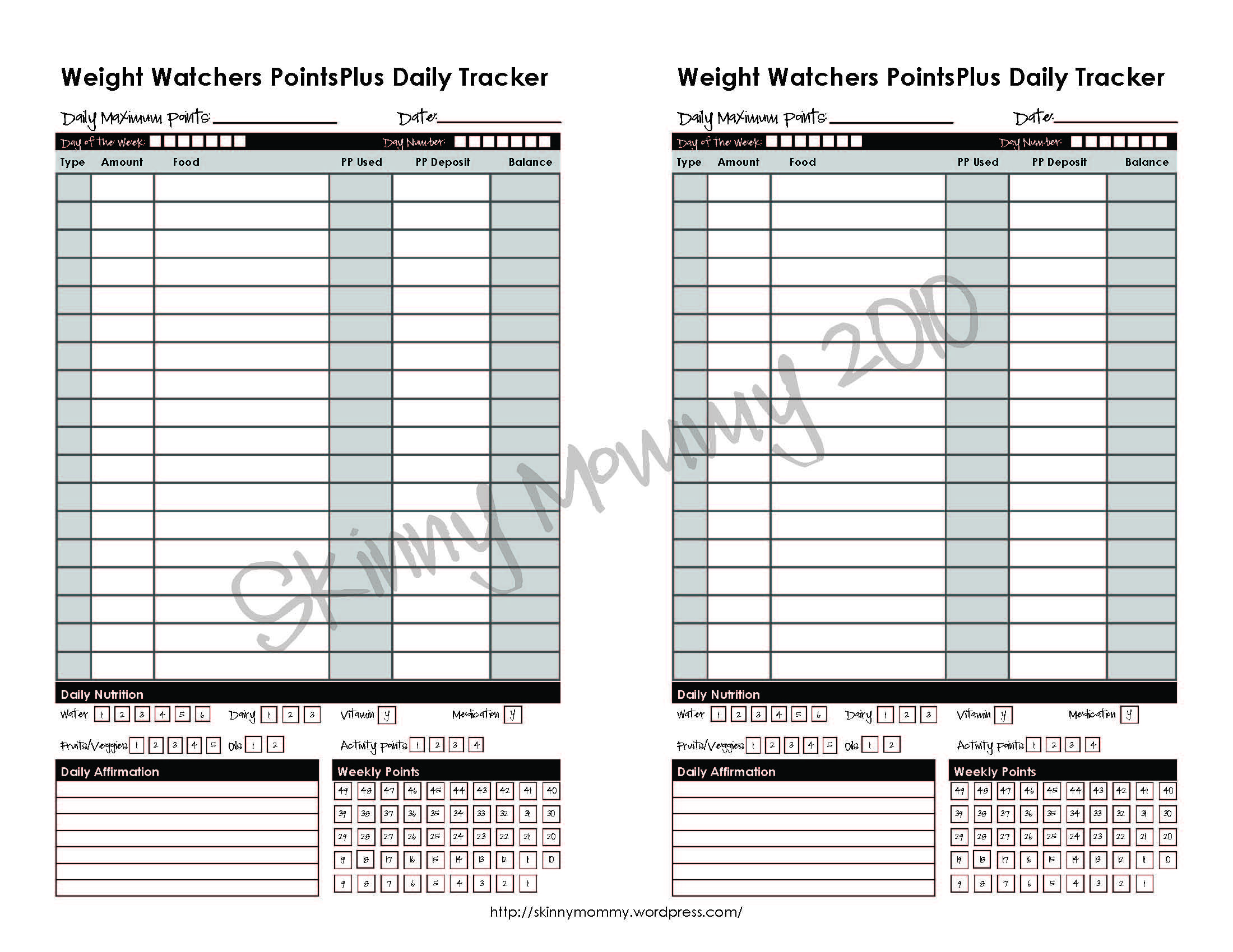 how to add weights to calendar weight watchers