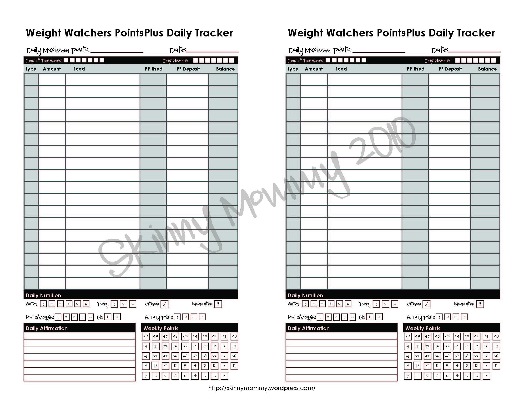 Extrêmement Printable Download: $3.00/ Weight Watchers PointsPlus Tracker  YX32