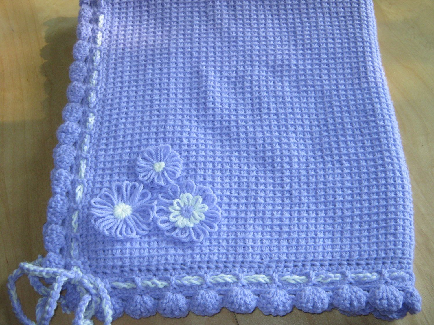Lavender and White Tunisian Crocheted Baby by ForBabyCreations ...