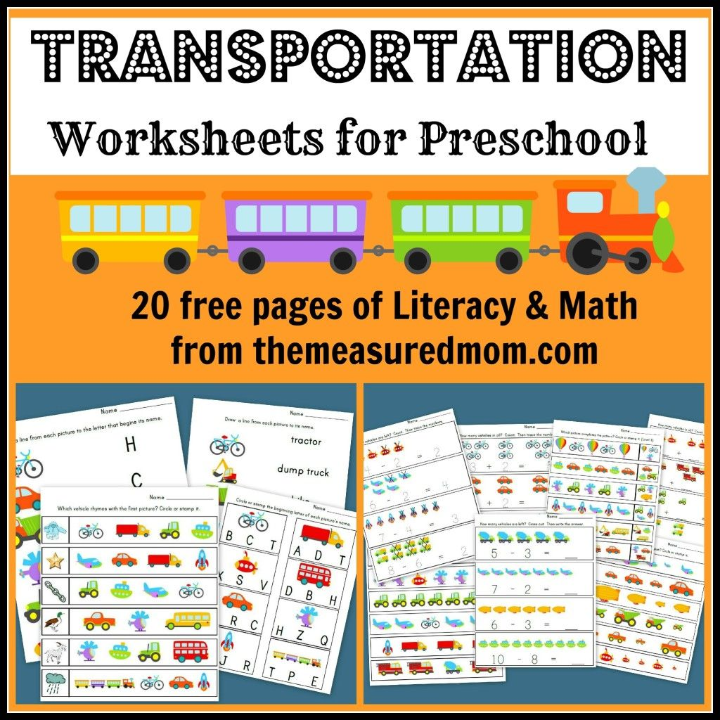 Transportation Worksheets for Preschool 20 free pages of Literacy ...