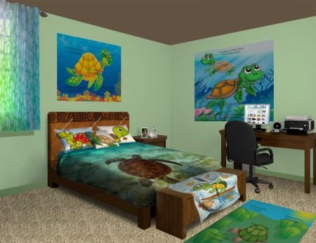 Turtle Splash Bedroom Theme featured at http://www.visionbedding.com/Turtle-Splash_Bedroom-rm-14121