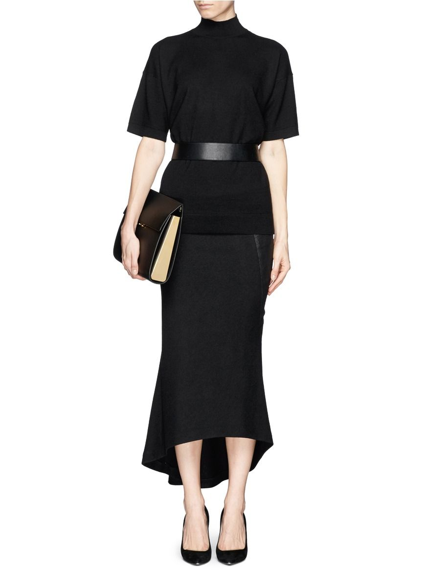 THEORY - 'Gredda' wool sweater | Black Short Sleeve Knitwear | Womenswear | Lane Crawford