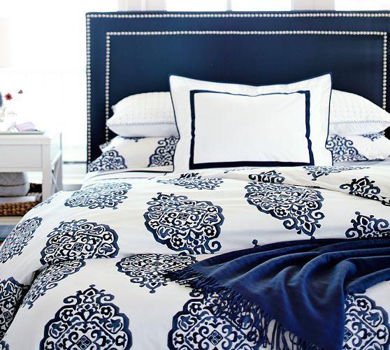 Asher Medallion Organic Percale Duvet Cover Amp Shams Gray Home Decor Bedroom Deep Blue Bedding Organic Duvet Covers