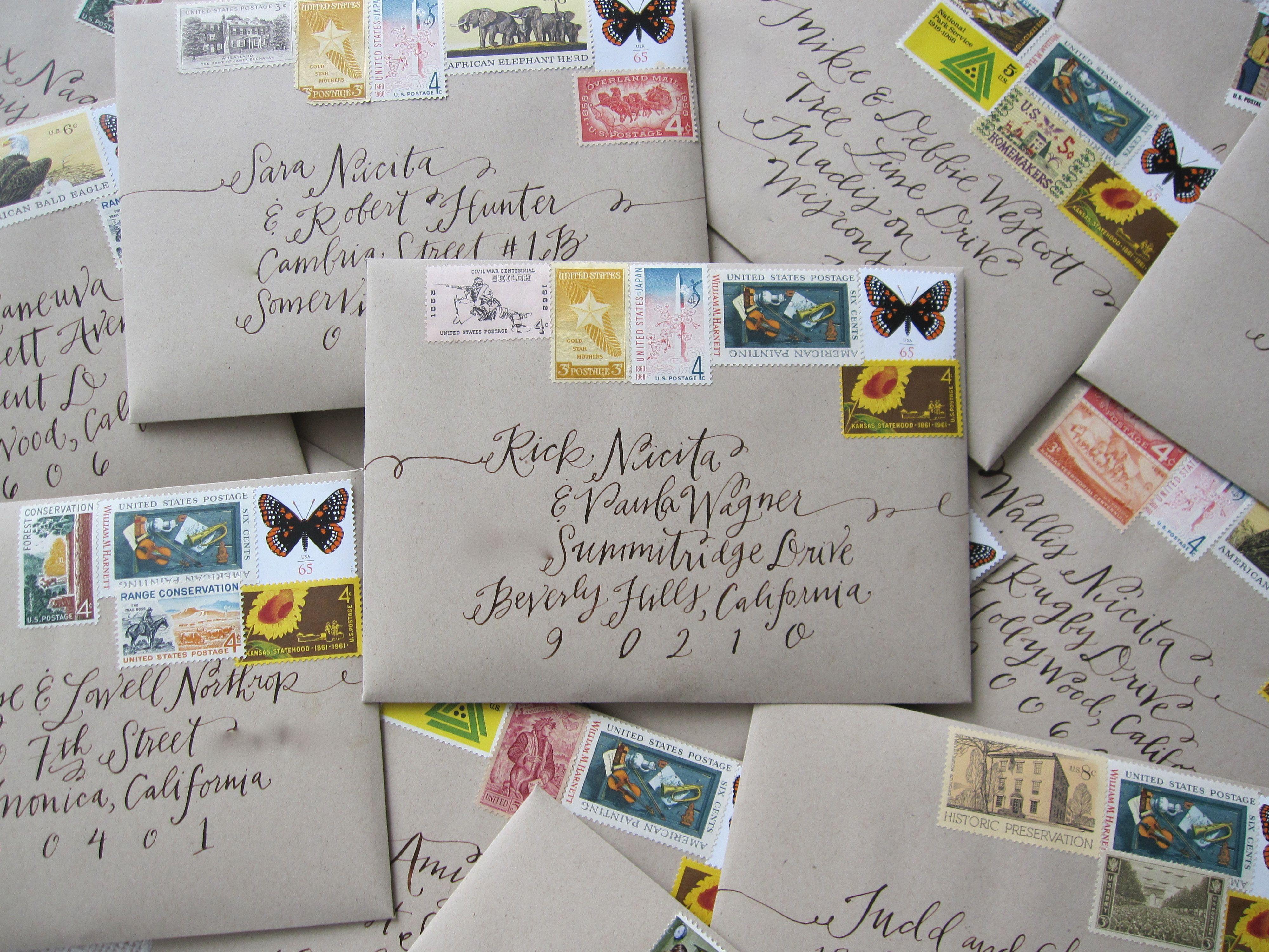 Vintage Stamps For Wedding Invitations: Wedding Invite Envelopes With Vintage Stamps