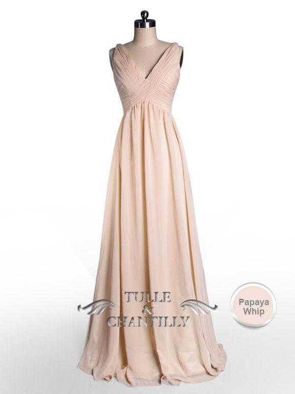 Simple Flowy Peach Pleated V Neck Bridesmaid Dress