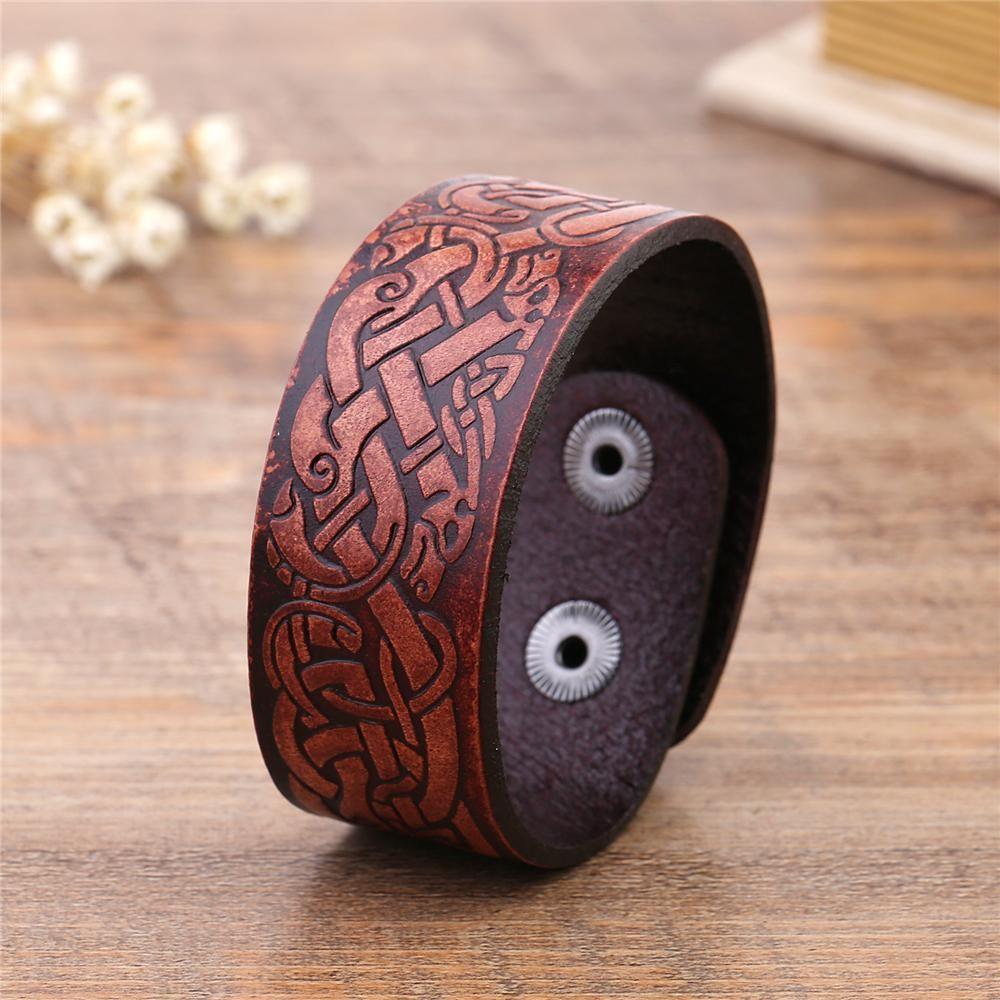 Celtic dragon knot mens leather cuff wristband charm women bracelets
