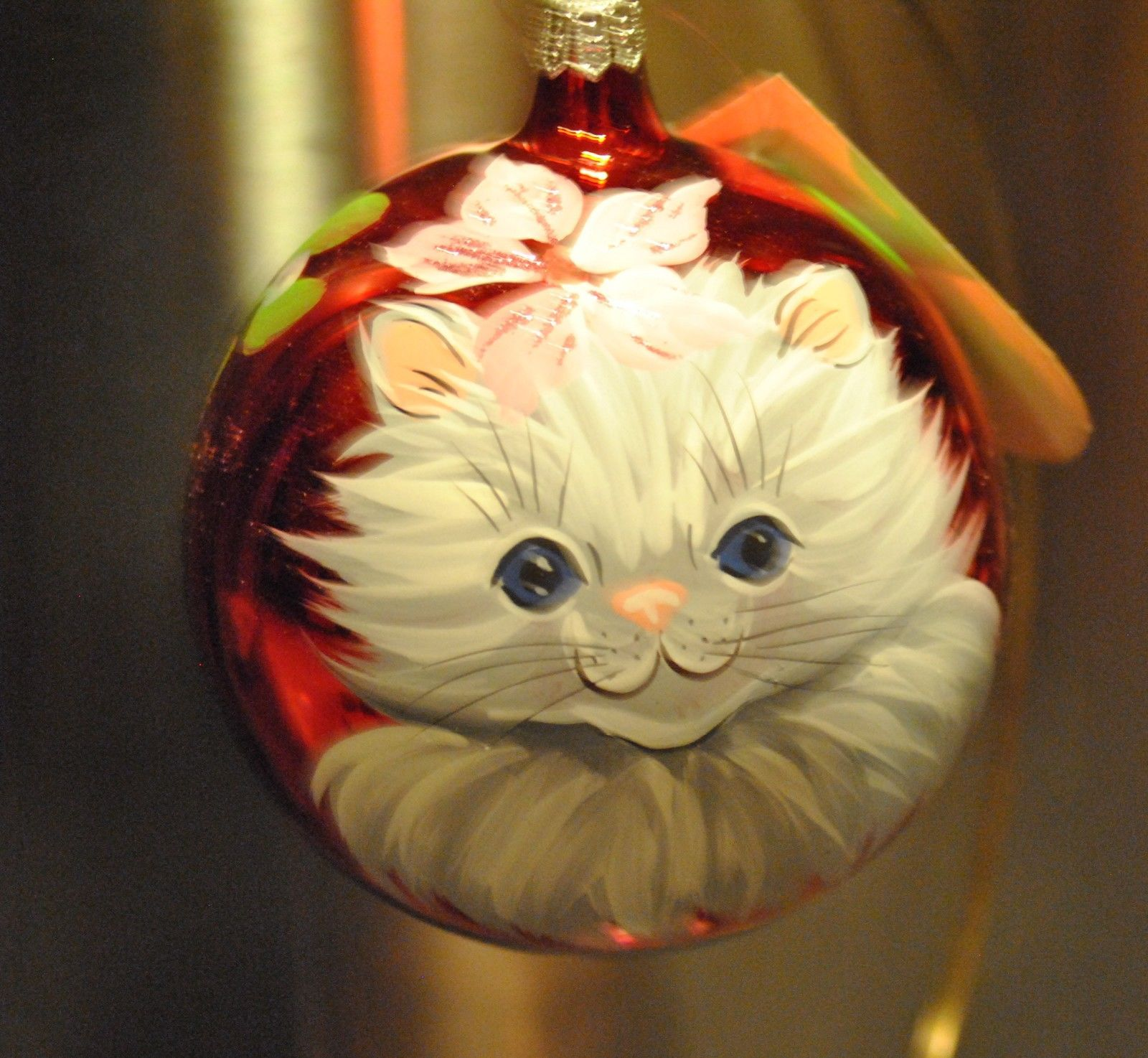 Cute Cat Kitty Artisan Glass Blown Christmas Ornament Italy Ball