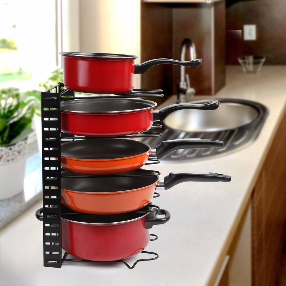 22 Things You Need If You Have Zero Space In Your Kitchen Cookware Stand Metal Storage Shelves Cookware And Bakeware