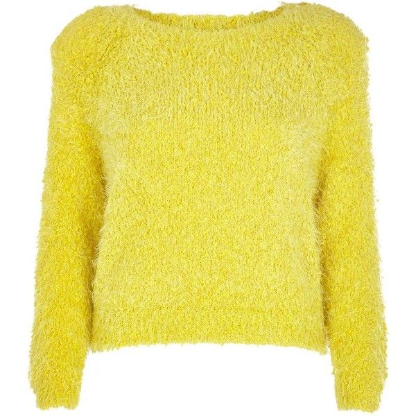 River Island Yellow fluffy knit cropped sweater (313.920 IDR ...