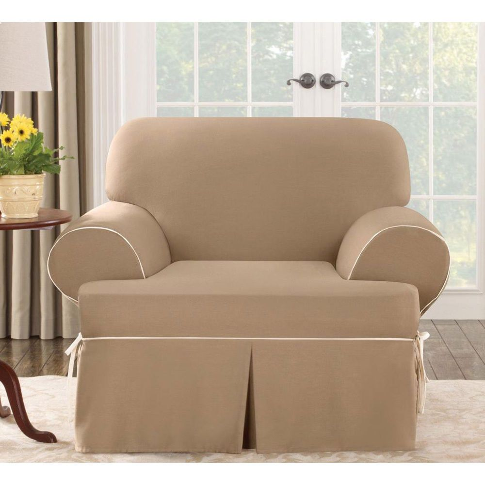 Sure fit contrast cord t cushion chair slipcover cocoa cotton duck chair surefit
