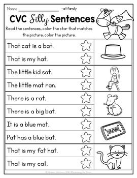 Cvc Silly Sentences No Prep With Images Silly Sentences