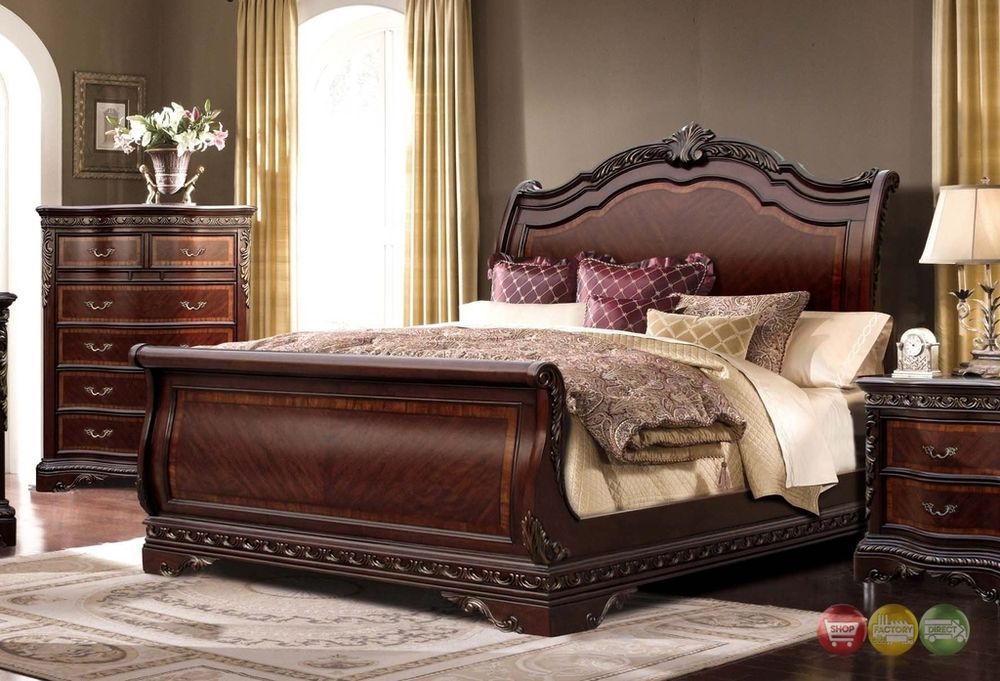 Bella Traditional Ornate King Sleigh Bed With Mahogany Finish Wooden Bed Design Brown Wood Bedroom Furniture Bedroom Set
