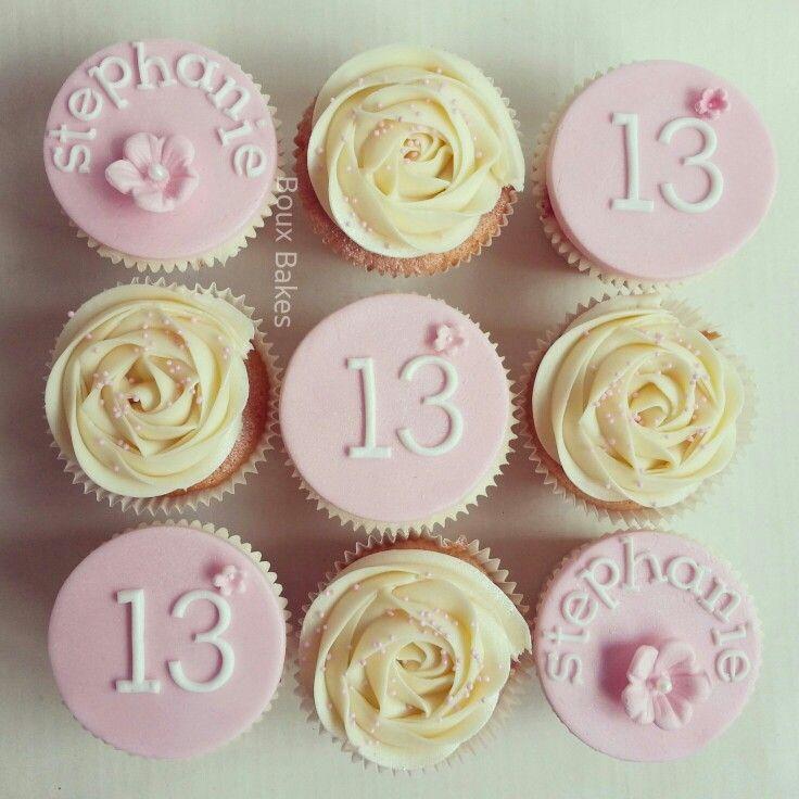 Pink 13th Birthday girls cupcakes Girl birthday cupcakes