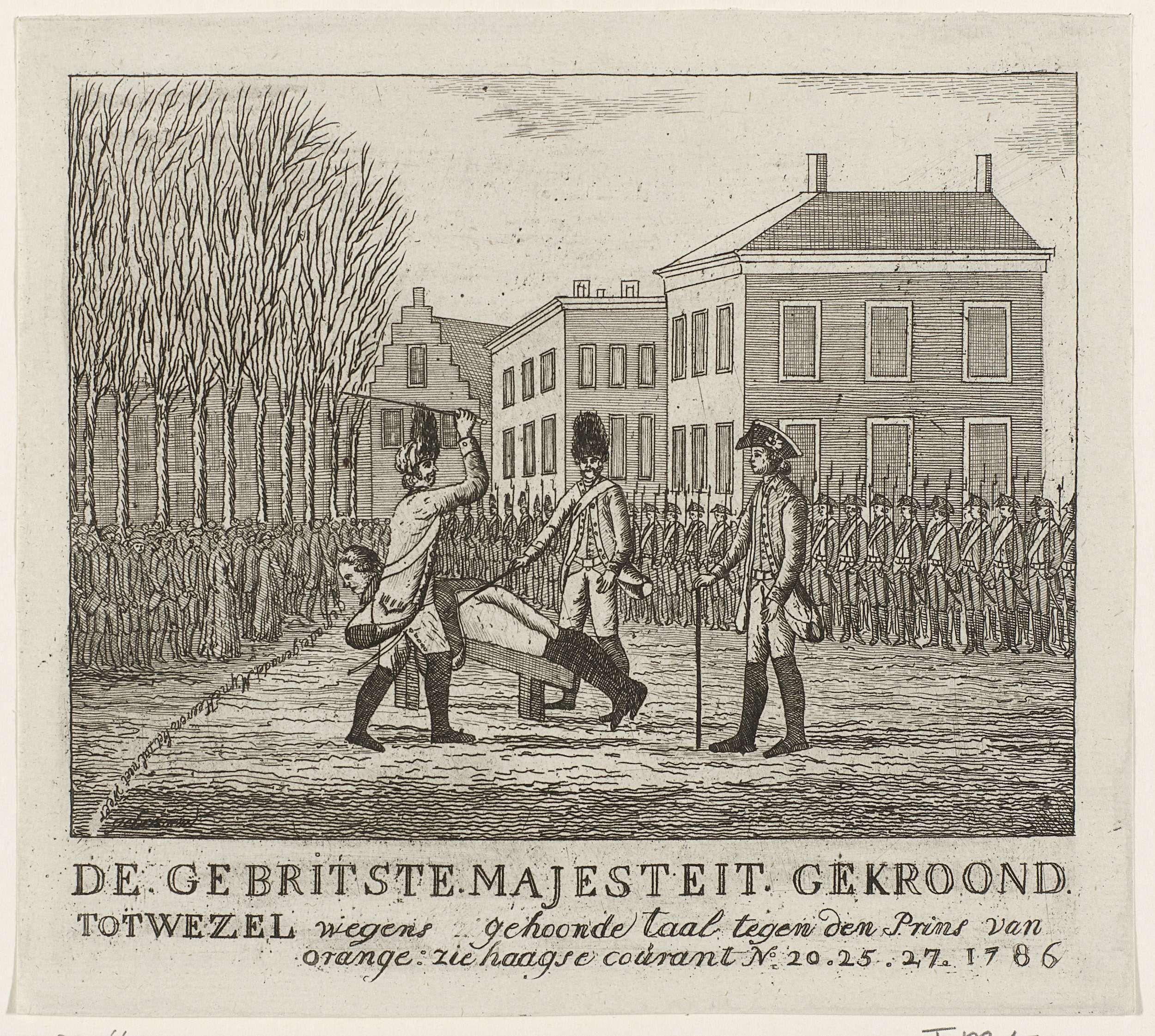 Anonymous | Geseling van een soldaat, 1786, Anonymous, 1786 | Openbare bestraffing van een soldaat wegens het honen van de prins van Oranje. Geseling op een houten bok, ten overstaan van een groep militairen en het publiek, 1786. In het onderschrift verwijzing naar de Haagse Courant, nrs 20, 25 en 27.
