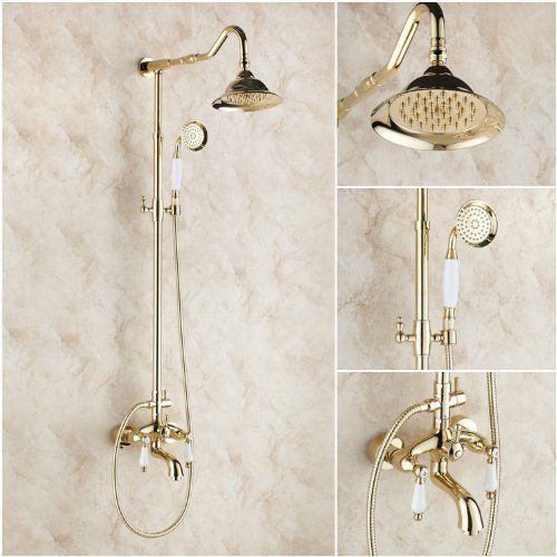 Rozin Gold Finish Brass Bath Shower Faucet Set With 8 Inch Shower