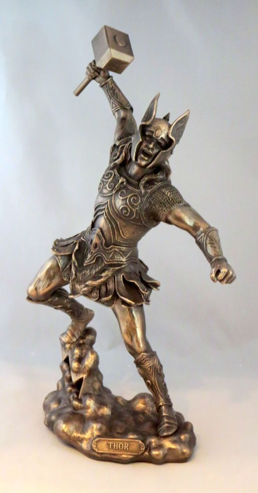 Thor Norse God Of Thunder New Statue Figurine Mythology Hammer Wielding Thor Norse Statue Norse