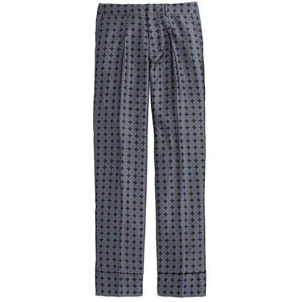 J.Crew Collection Pajama Pant ($200) ❤ liked on Polyvore featuring intimates, sleepwear, pajamas, j.crew sleepwear, silk pjs, silk pj pants, j crew pajamas and pj pants
