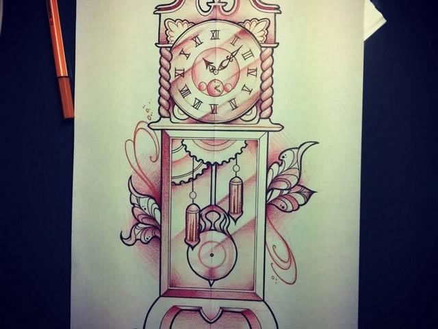 Grandfather Clock Tattoo Google Search In 2020 Grandfather Clock Tattoo Clock Tattoo Clock Drawings