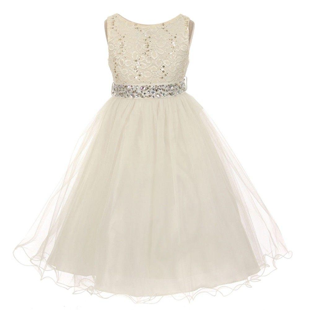 Big girls ivory lace crystal tulle rhinestone junior bridesmaid