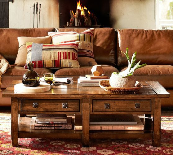 Rustic Pottery Barn Living Rooms: Benchwright Rectangular Coffee Table