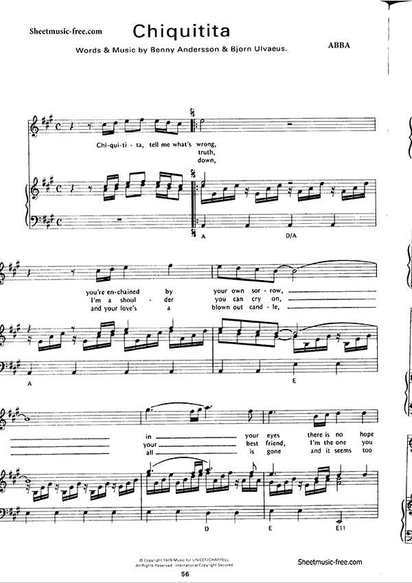 All Music Chords online sheet music download : Chiquitita Sheet Music Abba Chiquitita Sheet Music performed by ...