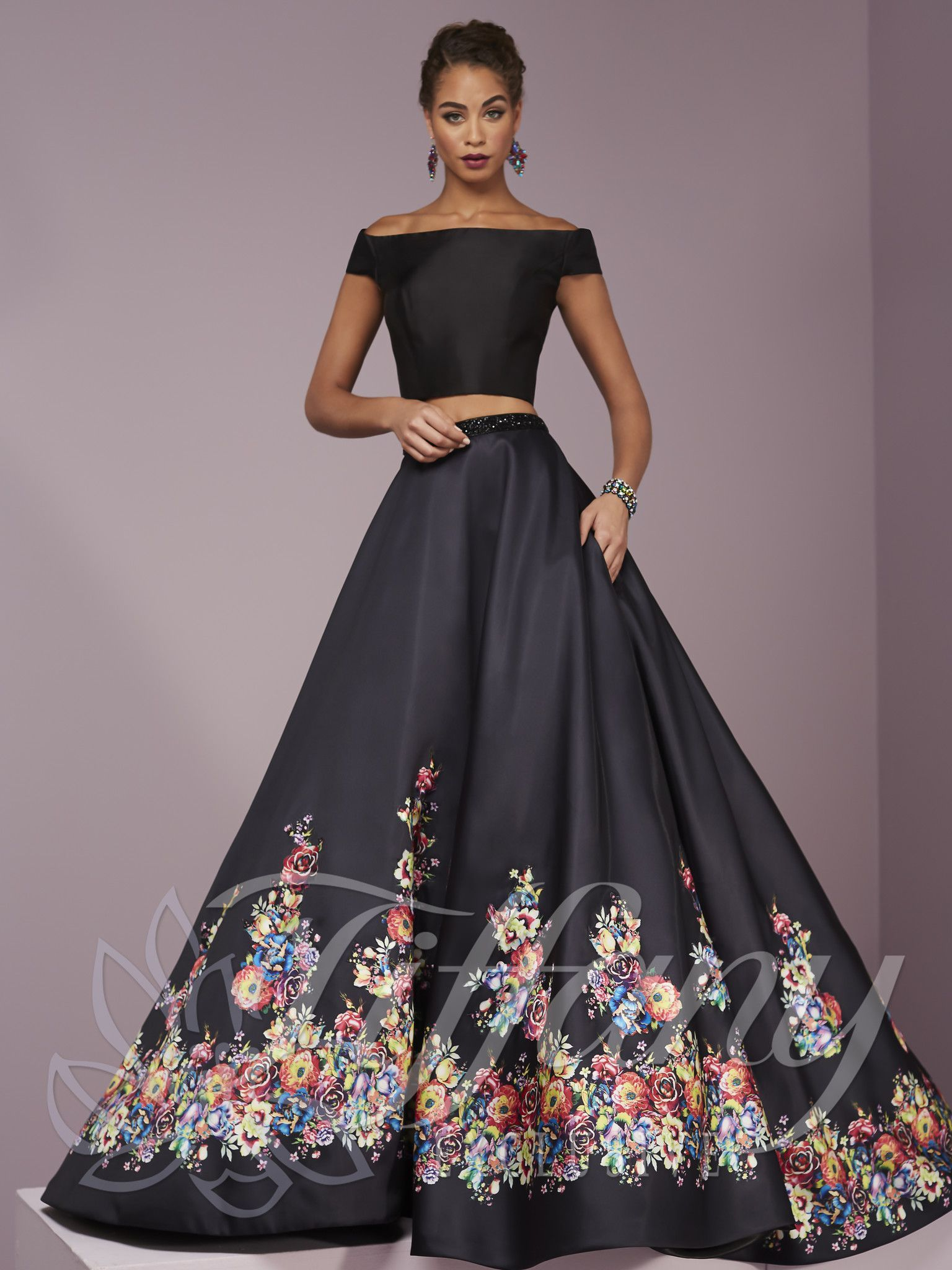 Tiffany Exclusives 46109 Black Floral Trimmed Cap Sleeve Two Piece Prom Dress Piece Prom Dress Prom Dresses Dresses [ 2048 x 1536 Pixel ]