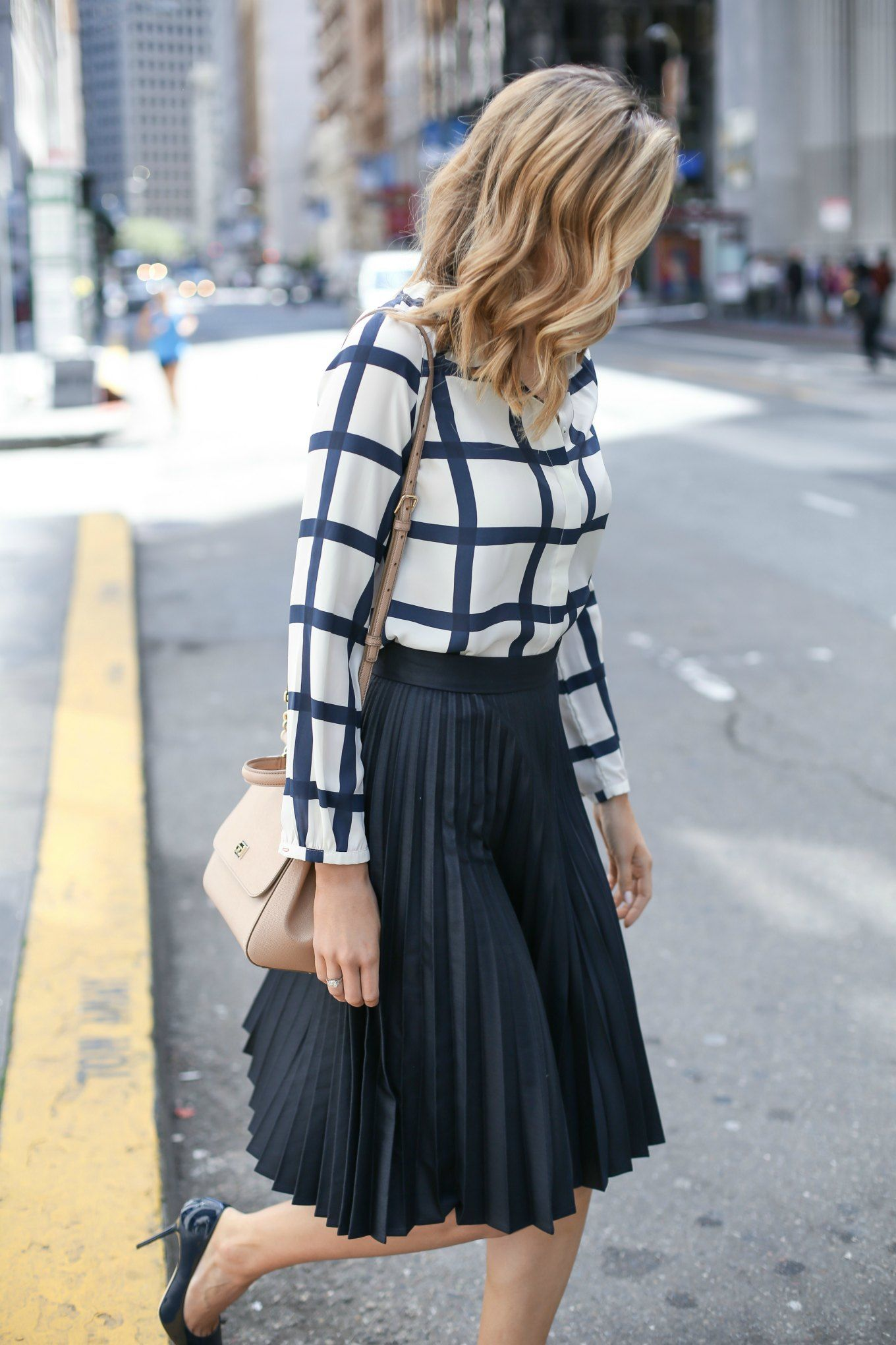fb2aa901fd Windowpane Blouse and Pleated Midi Skirt - MEMORANDUM