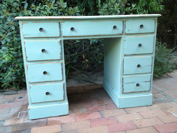 Shabby Chic Blue Beach Cottage Office Desk Turquoise Home Decor Storage