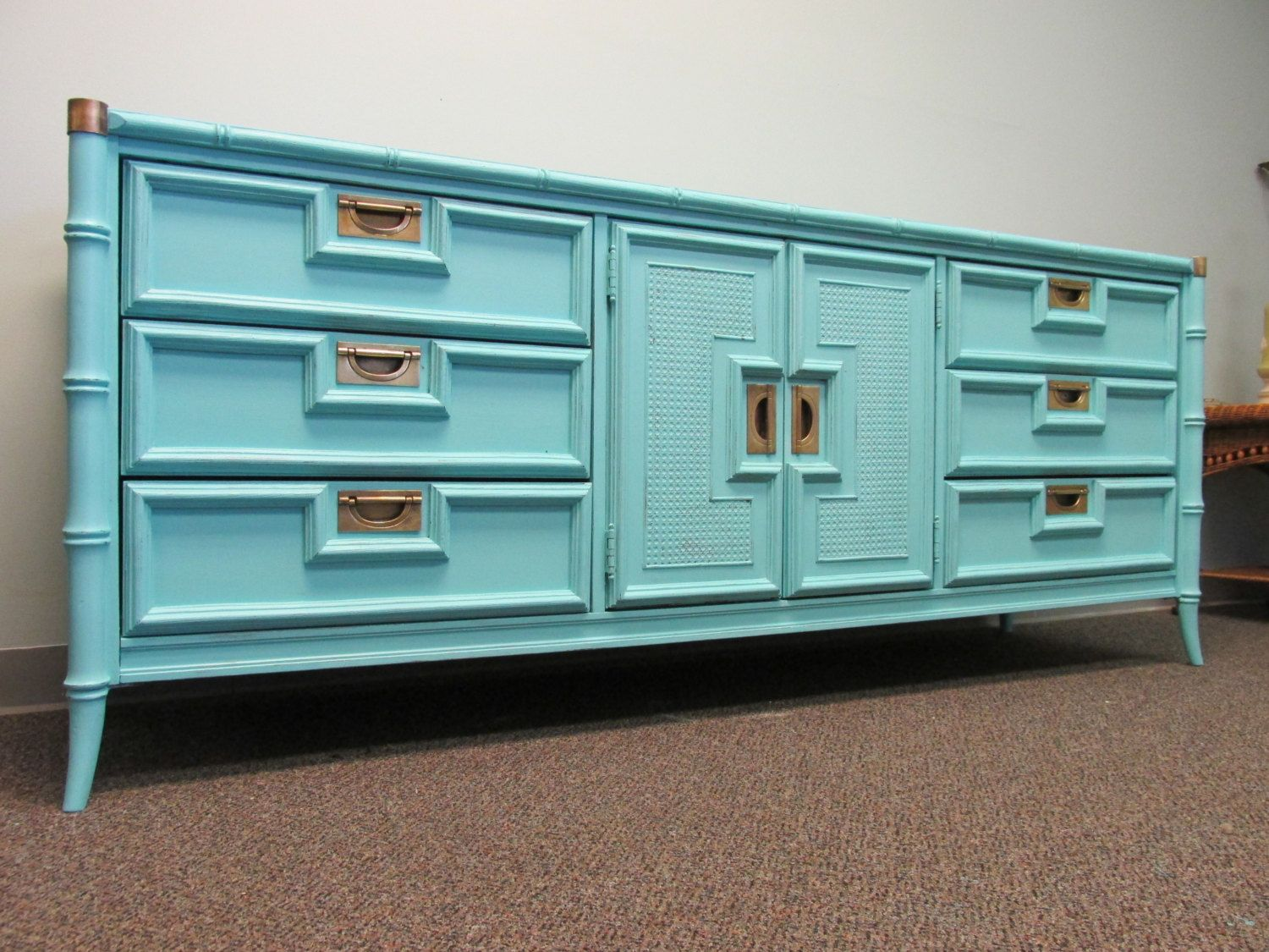bamboo company furniture. Aqua Painted Vintage Faux Bamboo Triple Dresser By Stanley Furniture Company - 9 Drawers W/ A