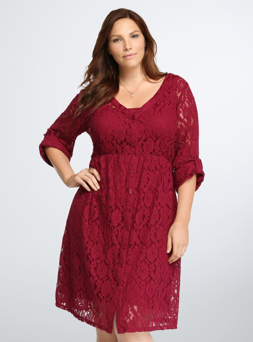 Allover Lace Shirt Dress Plus Size Special Occasion Dresses