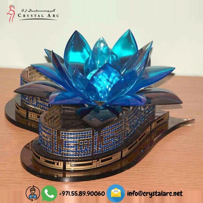 Crystal 3D Lotus Flower with Arabic Calligraphy in 2020
