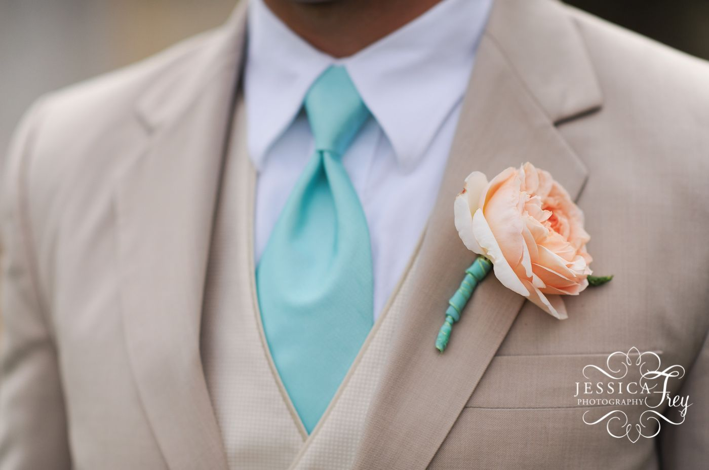I like this suit color with the blue tie and blush flower pink ...