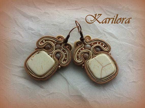 Cream Beige Small Soutache  Earrings by KARILORA on Etsy