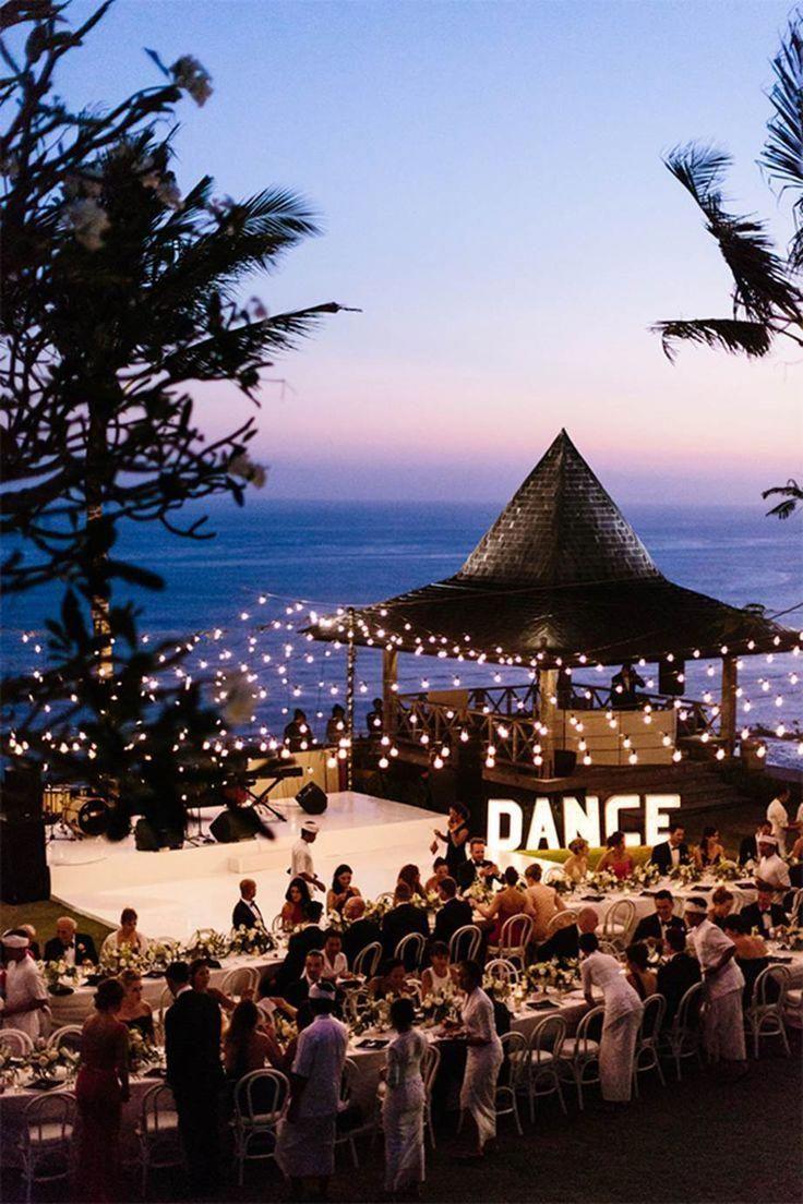 Beach wedding reception.