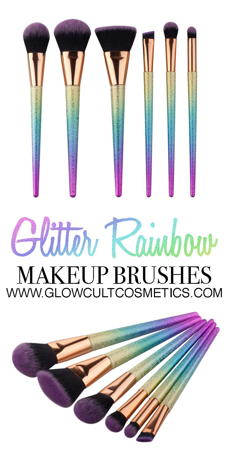 Glitter rainbow makeup brushes from www.glowcultcosmetics