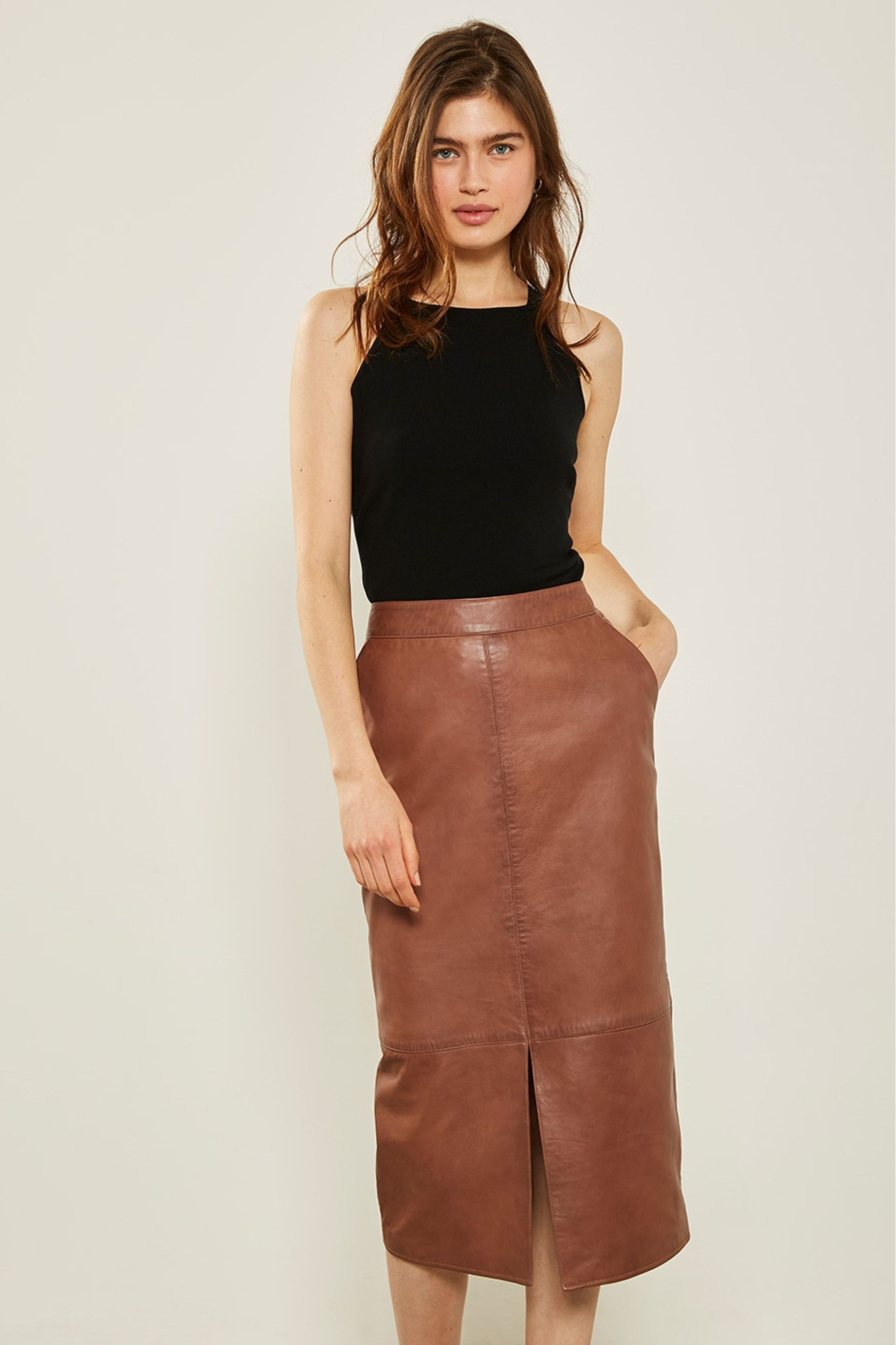 wholesale online special for shoe latest design Womens Mint Velvet Tan Leather Pencil Skirt - Brown in 2019 ...